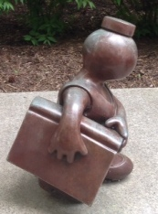 One Tom Otterman's sculptures in the Reading Garden at the Cleveland Public Library.