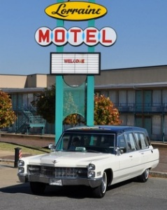 Ostensibly, this is a fully restored hearse that carried MLK's body from the Lorraine Motel to St. Joseph.
