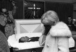 Mourner viewing MLK's body at R.S. Lewis Funeral Home. Mr. Lewis prepared King's body so well that his face and neck were seemingly restored to their previous state before the shooting.