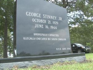 George Stinney, Jr. supporters erect a headstone as a memorial.